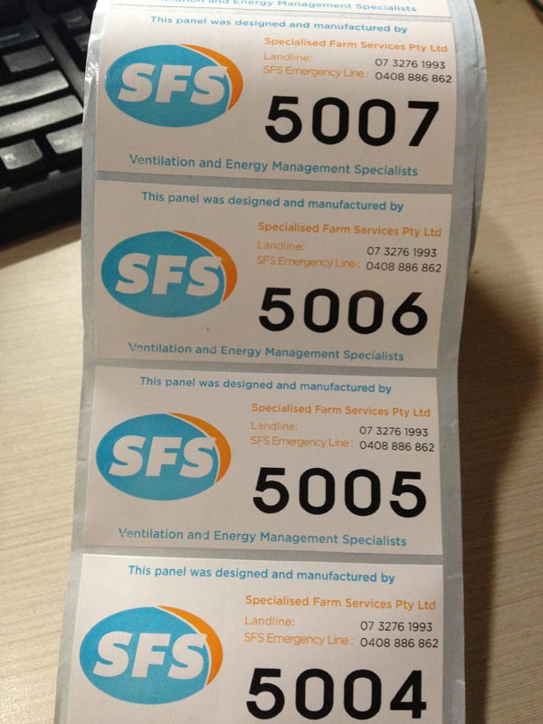 sequentially numbered stickers