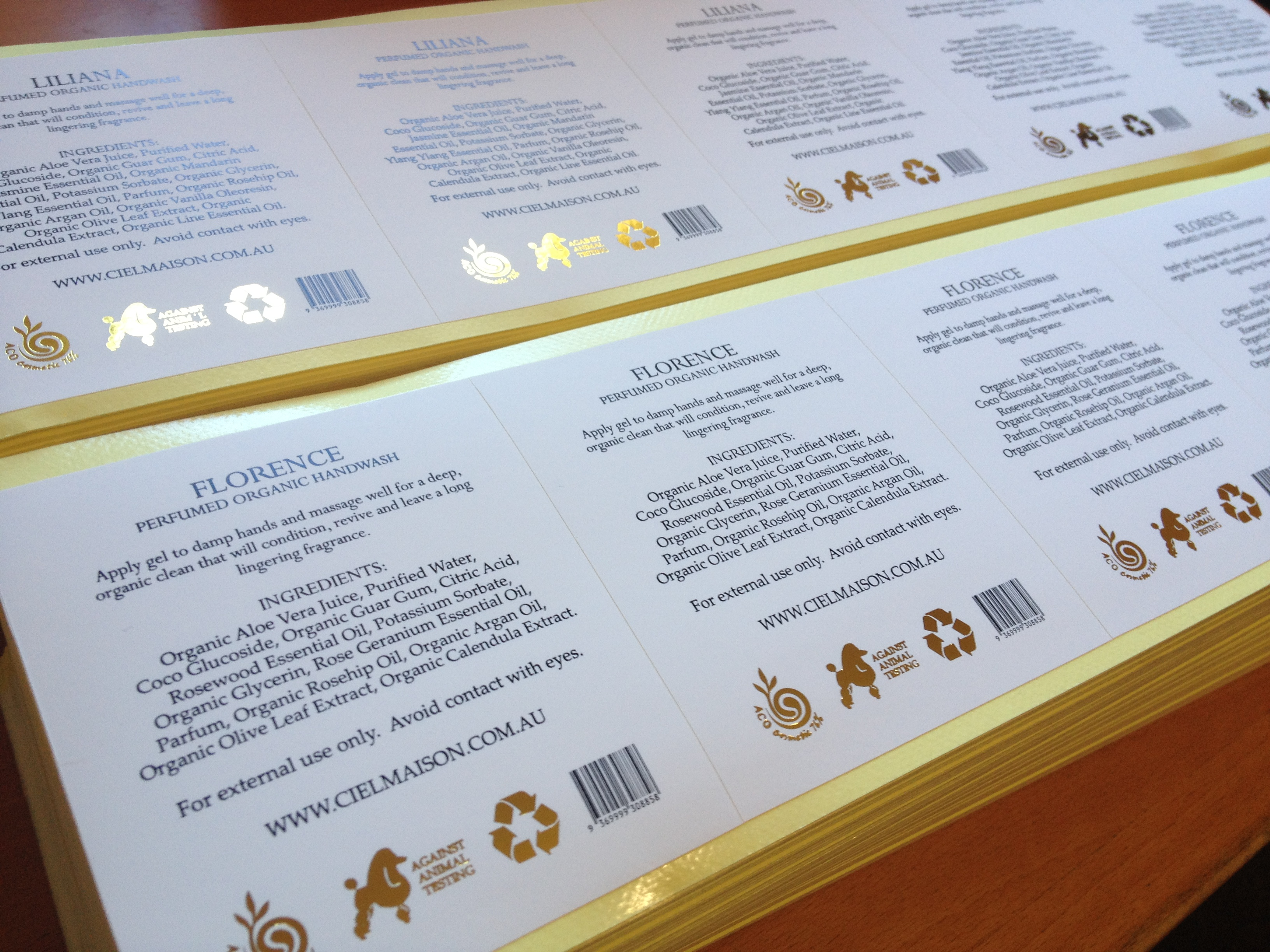 gold foil stamping on vinyl stickers